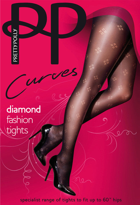 Pretty Polly Curves Diamond Fashion Tights have four small Diamonds that make up one big Diamond all over your leg. From the Toe to the start of the panty your leg is beautiful.