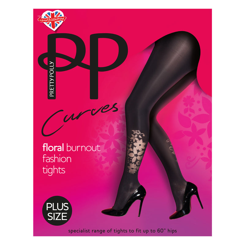 Pretty Polly Curves Floral Burnout Fashion Tights are Opaque until the Burnout at the Calf. Just a Floral Peak a boo.