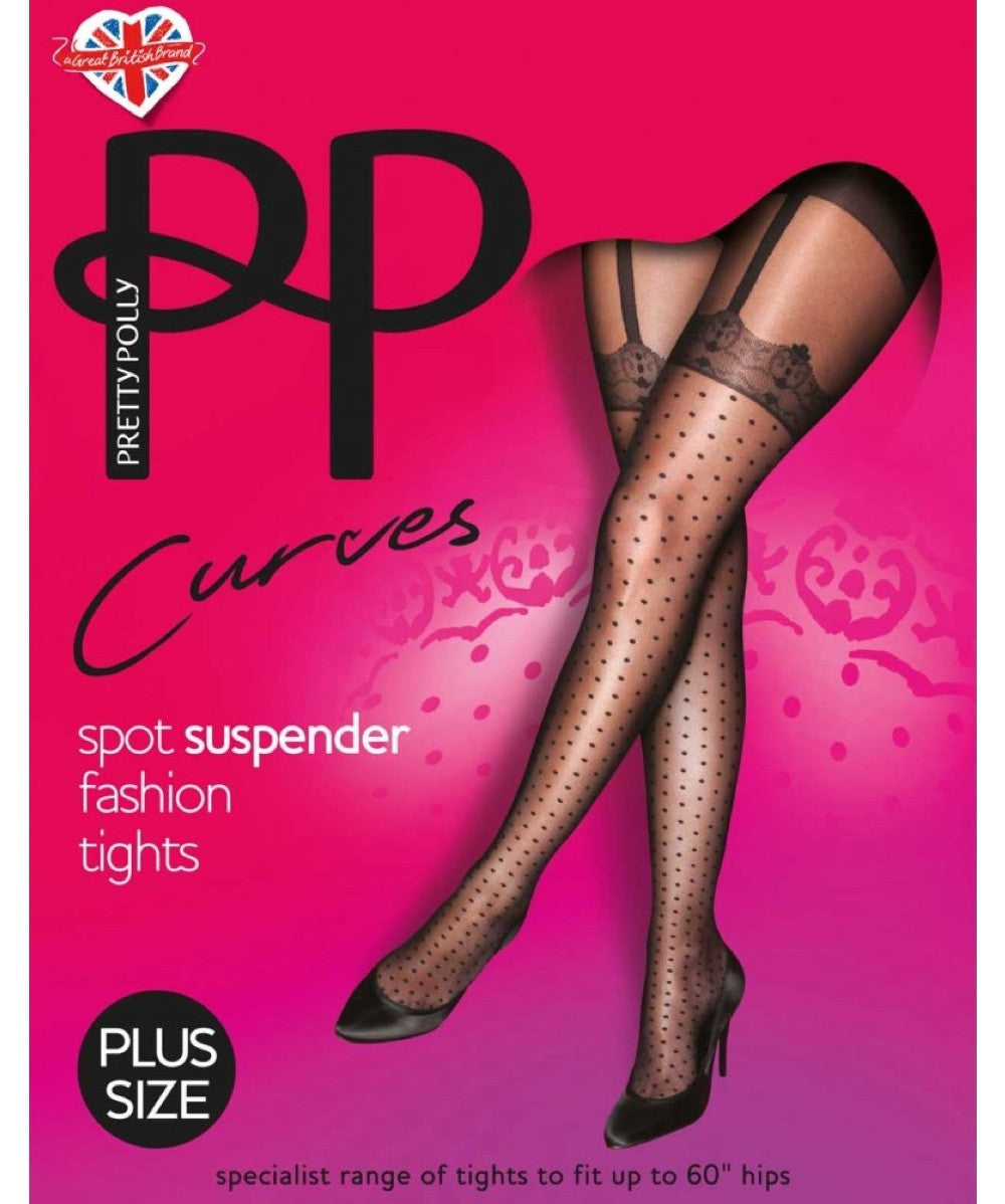 Pretty Polly Curves Mock Spot Suspender Tights are Mock because the Lace and Suspenders are fake and woven into the tights.
