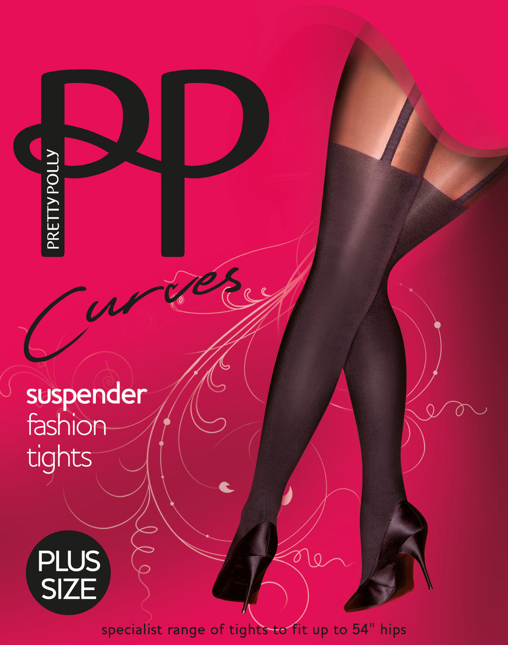 Pretty Polly Curves Suspender Fashion Tights are fake suspender style hose and are tights or pantyhose.