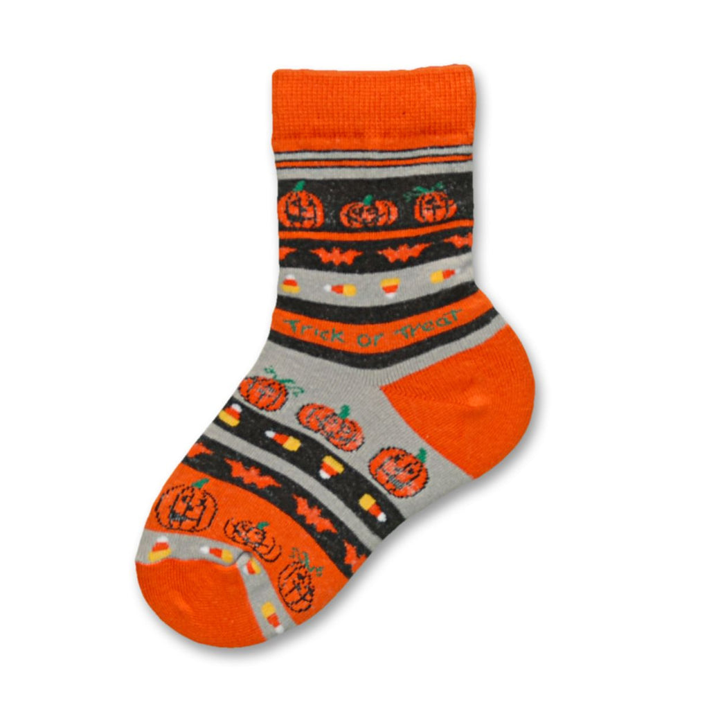 Bright Orange and Black with Grey and White Jack-O-Lanterns, Candy Corn, Bat and Trick or Treat makes this Sock fun to wear on Halloween. More for parents than kids at this time.