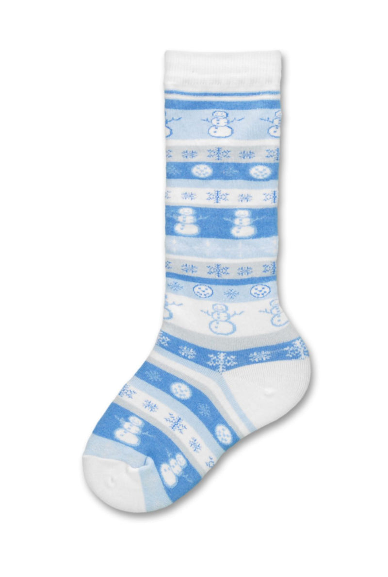 Psychabright Snowman is on a White Background with Light Blue Grey and White Stripes with Snowflakes and Snowmen in the Rows.