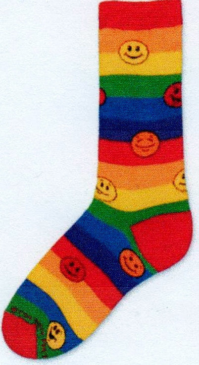 FBF Rainbow Smiles Sock is a Rainbow Colored Striped Sock. The Smiles are in Yellow, Red and Orange.