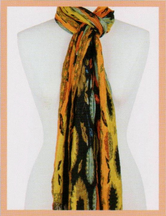 Rapti Silk Blend Lycra Scarf in Golds, Oranges, Mint, Rust and Black.