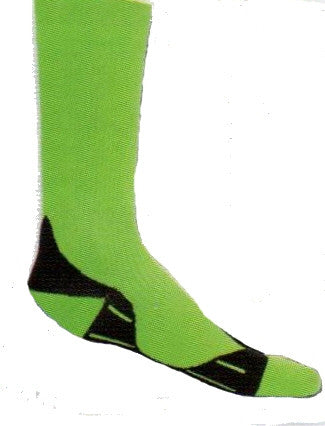 Red Lion Glide Knee High Florescent Green Compression Socks are X-Large Size with Black above the Heel and runs under the foot then bands around the foot before the Toe.