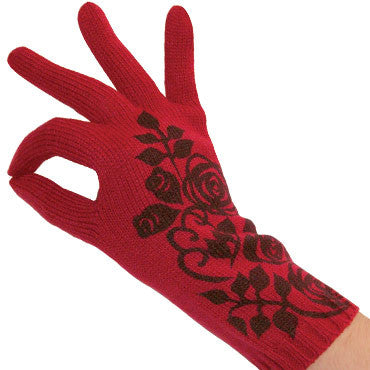 Zazou Rosebud Finger Glove show a Water Printed Rosebud graphic on the top of the Hand.