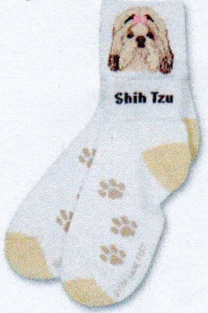 FBF Shih Tzu Head Sock is on White with Light Tan Colors. The Shih Tzu is seen with the Cuff Up. When the Cuff is Down it becomes an Anklet and you see the words Shih Tzu.
