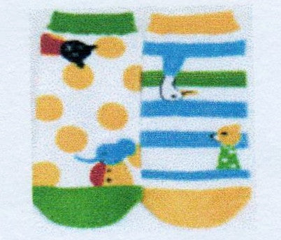 Shinzi Katoh makes this Mismatched pair of Socks fun with his Designs. Polka Dots and Stripes are on one of the Socks. Fox, Bear, Elephant, Goose