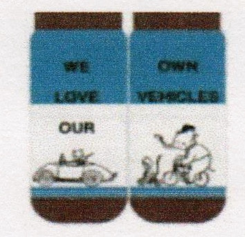"Shinzi Vehicle Socks are Blue, Brown and White with the saying, ""We Love Our"" on one Sock and ""Own Vehicles"" on the other. Animals on Cars, Motorcycles and Bikes!"