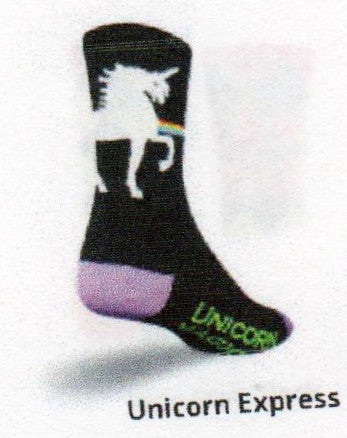 "On the Cuff and Ribbing is the White Unicorn. The background of this Sock is Black. The Unicorn is riding a Rainbow. The Heels and Toes are Purple. The instep reads, ""Unicorn Magic"" in Green."