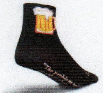 All Black Sock with a Mug of Golden Beer with a White Head on it. The Instep has a Quote from Humphrey Bogart.