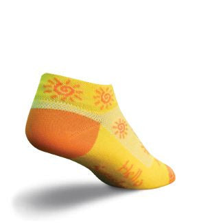 "Sock Guy Sunshine Sock has Sun Graphics over the Sock and on the Cuff in Bright Orange. The Heel and Toes are Bright Orange and the Words on the Instep say, ""Hello Sunshine""."