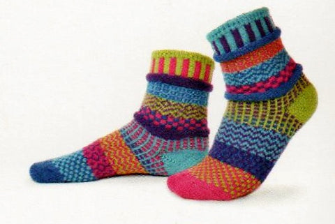 Solmate Socks Vermont Garden Bluebell Sock is a Mismatched Brightly Colored Sock with Lime Green, Fuchsia, Turquoise. Purple and Royal Blue.