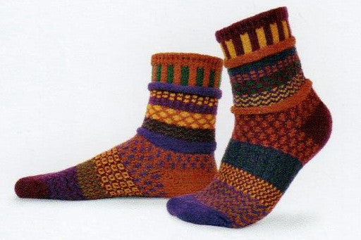 Solmate Socks Autumn Series Fall Foliage is Mismatched on Purpose in Spice, Burgundy, Forest Green, Gold and Purple.