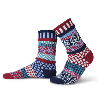 Solmate Socks Stellar Series Stars and Stripes are for anyone who wants to wear Patriotic Socks. The colors are Navy. Pomegranate Red, White, Sky Blue and Nordico. Stripes and Stars are all over this sock.