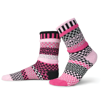 Solmate Socks Stellar Series Venus Sock is designed with Pink, Black, Light Grey and Pale Pink colored thread. It is Mismatched on Purpose with Blocks of Color and Graphics of Diamonds, Squares, Waves and more.