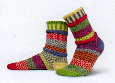 Solmate Socks Vermont Garden Aster Sock is a Brightly Colored Sock with Fuchsia, Cream, Sky Blue and Lime Green.
