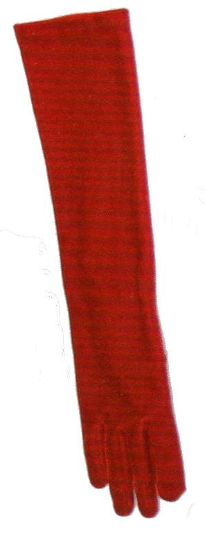 Lauer Stretch Velvet 12 Button Length Glove in Ruby