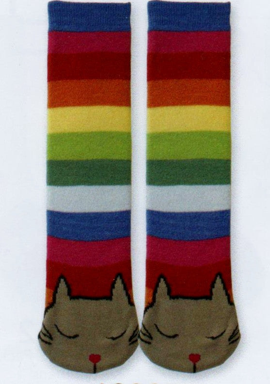 K Bell Tubular Cat Non-Skid Slipper Socks are warm and cozy and a friendly cat sleeping on your feet. Eyes are closed then the Tube goes up as Rainbow Colors.