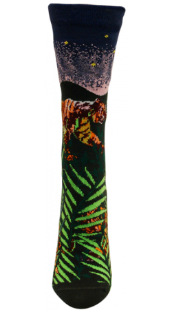 Ozone Endangered Cats Tiger Socks shows the Tiger roaming the Jungle at Night.
