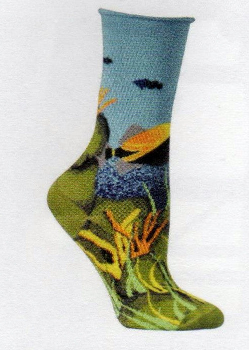 Ozone Under the Sea Sock starts with Turquoise and Dark Blue Silhouetted Fish and Water. The main fish shown are Grey, Dark Blue, Yellow,Orange and Black. Then comes Greens and Yellow and Oranges for the Coral, Seaweeds and other things that grow on the Sea bed.