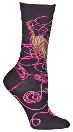 Ozone Unravelling Sock starts on a Black background with a Tan and White Cat playing with two balls of yarn. One is Fuchsia and the other Lime Green.(Lime Green is not visible on the Side View)