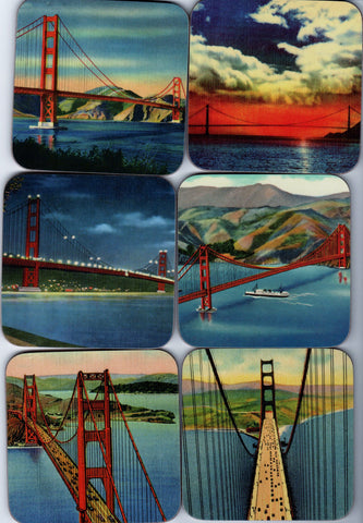 6 Vintage Photos of the Golden Gate Bridge on Cork Coasters