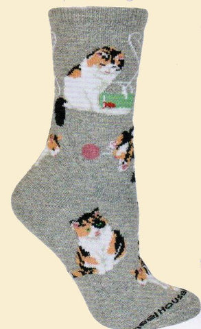 Wheel House Designs Calico Cats on Grey Sock
