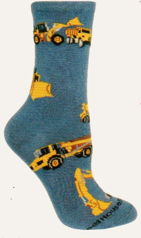 Wheel House Designs Construction Vehicles Socks are all about the Yellow Vehicles that do all the work. BackHoes, Excavators, Bulldozers and Dump Trucks all on a Blue background.