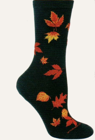 On a Black background Autumn Leaves fall from the Cuff to the Toe in Oranges, Yellows, Reds and Browns.