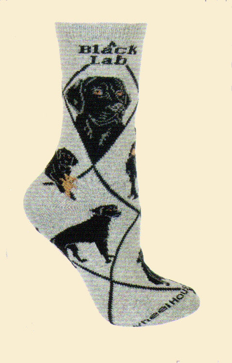Wheel House Designs Black Lab on Grey has two profiles of Black Labs and then Poses all over the sock.