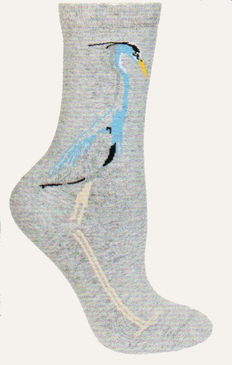 Great Blue Heron from Wheel House Designs on Light Grey Heather Sock. In Blues, Black and Yellow.