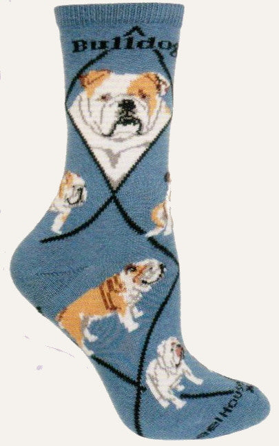 Bulldog on Blue is the same sock as Bulldog on Black but has Blue background. Still the Cute Profiles of our Hero the Bulldog with Black Diamond lines and Black Bold Bulldog on top. The Bulldog Poses are stances and walking to you.