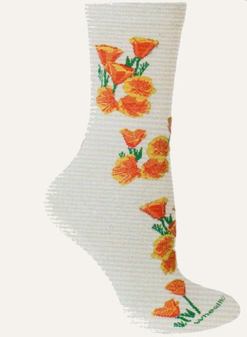 On a Natural background California Poppies grow in Groups from the Cuff down to the Toes.