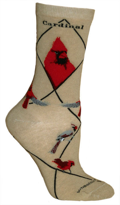 Wheel House Designs Cardinal on Khaki background. All different graphics of Cardinals on this Sock.