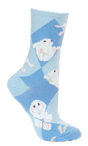 White Bunnies on a Light Denim and Light Blue Argyle pattern