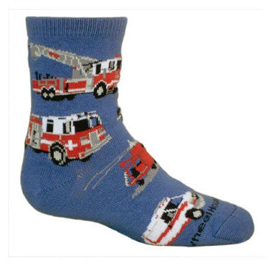 Wheel House Designs Emergency Vehicles Children Socks start on a background of Blue. The Vehicles are Red, White, Black and Grey. Police Car, Fire Trucks, Helicopter, Ambulance, EMT Truck.