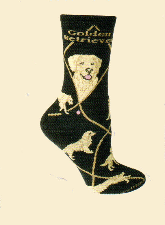 Wheel House Designs Golden Retriever on Black has Golden Diamond Line and Gold lettering for Golden Retriever. There are two Profile pictures and then poses of the Golden Retriever to the toes.