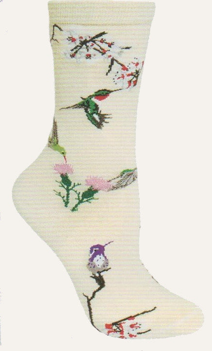 Wheel House Designs Hummingbirds on Natural Novelty Socks are different Hummingbirds drinking Nectar from flowers on this sock.