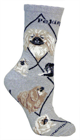Pekingese Dog Sock starts on a Grey background with Black Bold Print saying Pekingese on Top with Black Diamond Lines. The Portraits are Frontal with Fawn, Cream and White and Black Mask. The other is Red Pekingese with Black Mask. The Poses are of all the colors they come in Standing and Sitting.
