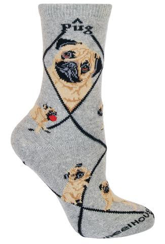 "Wheel House Designs gives Fawn colored Pugs their own Sock on a Grey background. Black Diamonds are all over the Sock and Pug in Black Bold Print are on both sides. There are two different Profiles of the Fawn Pug.  One is serious looking and the other looks like it is saying, ""Who Me?""  The Poses are one with a Red Ball, one Walking and one Sitting."