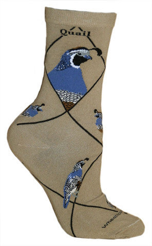 Wheel House Designs Quail on Khaki starts with the Khaki desert background. With the Quail in Slate Blue and Greys in both male and female are shown.