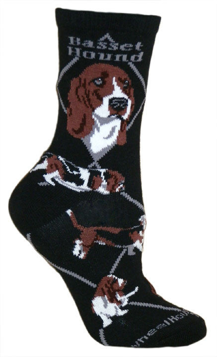 Basset Hound on Black words and Diamond line are in Beaver Color. The Profile Pictures at the Top and the poses around the sock show the Basset running with flopping ears and sniffing at the ground.