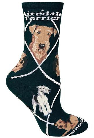 Wheel House Designs Airedale Terrier on Black background has White Bold Writing of Airedale Terrier under the Cuff. It has two Profiles of the Airedale on Top and then Poses below.