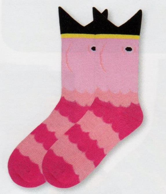 K Bell Medium Size Wide Mouth Flamingo Sock in Pink, Fuchsia, Black and Yellow.