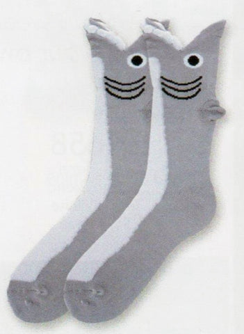 Grey and White are the main colors of this Wide Mouth Shark Sock. The mouth is the Cuff with White Puffy Teeth. Then you have the Eye and the Gills in Black. One tip of Sock comes up to be the noticeable fin out of water. The belly of the Shark is White.
