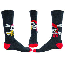 This picture shows Left, Right and Center of Wright Avenue Mens Buccaneer Sock. This Buccaneer looks happy in his Skull which is White with a Black Patch over one eye. He has a nice dagger in his mouth a Red Bandana over his head and a Gold Earring.  Behind you see the Crossbones.