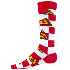 Wright Avenue Mens Pizza Sock starts on a Checkerboard of Red and White Squares. Pizza Slices are all around the Sock with Brown Crust, Yellow Cheese and Red Pepperoni Sausage.