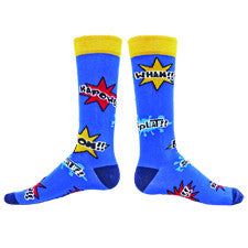 Wright Avenue Mens Super Hero Sock starts on a Navy background with Bright Gold Cuff and Oxford Blue Heels and Toes. Around the Sock are Action Bubbles that show in Red, Bright Gold and Teal words like Splatt, Zap and Wham.