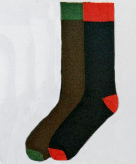 Xtremely Soft Colored Heel and Toes come in Brown and Green and Red and Navy. Brown and Navy are the main Sock Colors. Green and Red make up the Cuffs, Heels and Toes.